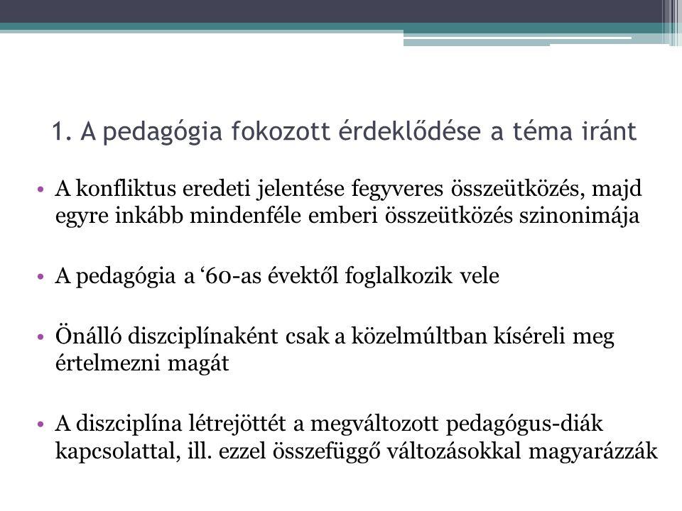 A konfliktusok főbb okai a magyar közoktatásban Az egyén (és autonómiájának) felértékelődése A nevelő-nevelt viszony gyökeres átalakulása Család és intézmény értékrendjének ütközése, illeszkedési problémák Pedagógusok szakmai elbizonytalanodása Tantestületen belüli ellentétek