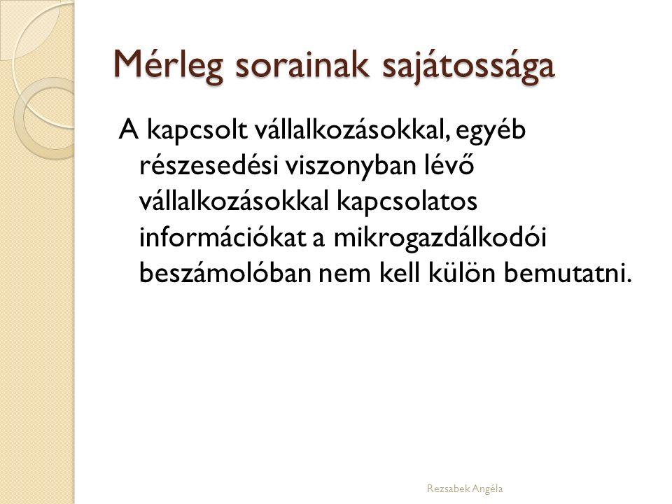 Mérleg sorainak sajátossága A kapcsolt vállalkozásokkal, egyéb részesedési viszonyban lévő vállalkozásokkal kapcsolatos információkat a mikrogazdálkodói beszámolóban nem kell külön bemutatni.