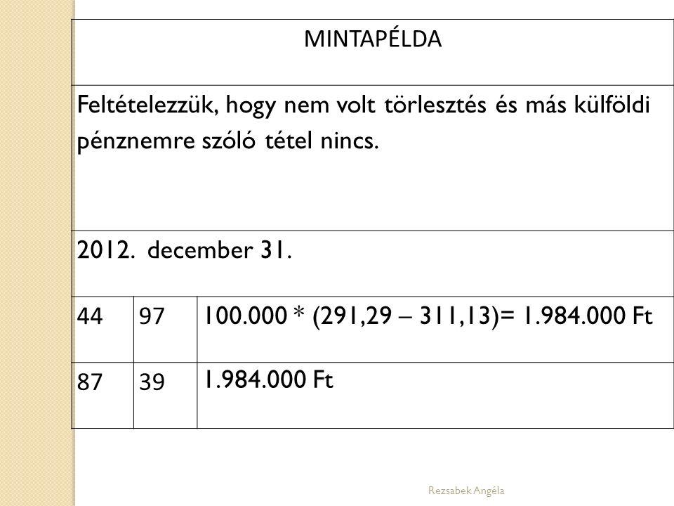MINTAPÉLDA Feltételezzük, hogy nem volt törlesztés és más külföldi pénznemre szóló tétel nincs. 2012. december 31. 4497 100.000 * (291,29 – 311,13)= 1