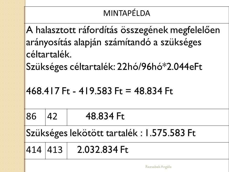 Rezsabek Angéla MINTAPÉLDA A halasztott ráfordítás összegének megfelelően arányosítás alapján számítandó a szükséges céltartalék. Szükséges céltartalé