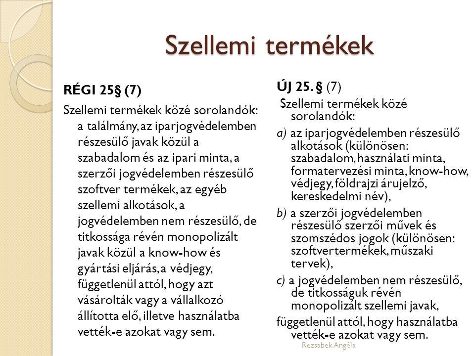 Szellemi termékek RÉGI 25§ (7) Szellemi termékek közé sorolandók: a találmány, az iparjogvédelemben részesülő javak közül a szabadalom és az ipari min