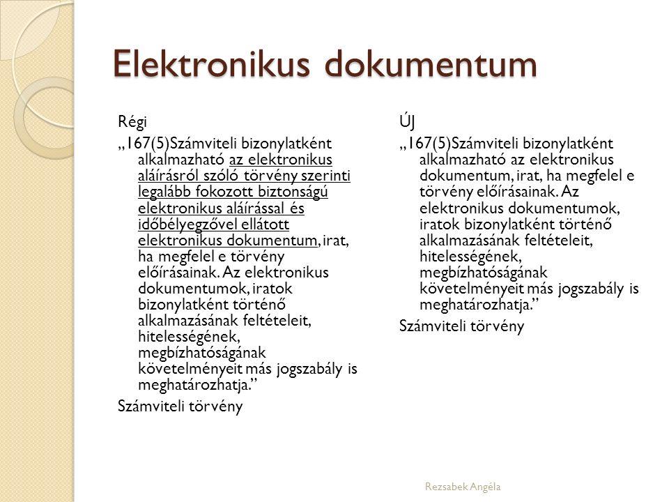 """Elektronikus dokumentum Régi """"167(5)Számviteli bizonylatként alkalmazható az elektronikus aláírásról szóló törvény szerinti legalább fokozott biztonságú elektronikus aláírással és időbélyegzővel ellátott elektronikus dokumentum, irat, ha megfelel e törvény előírásainak."""