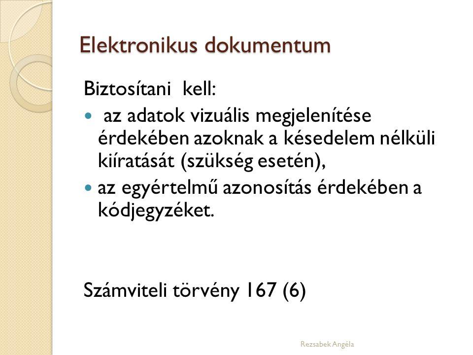 Elektronikus dokumentum Biztosítani kell: az adatok vizuális megjelenítése érdekében azoknak a késedelem nélküli kiíratását (szükség esetén), az egyértelmű azonosítás érdekében a kódjegyzéket.