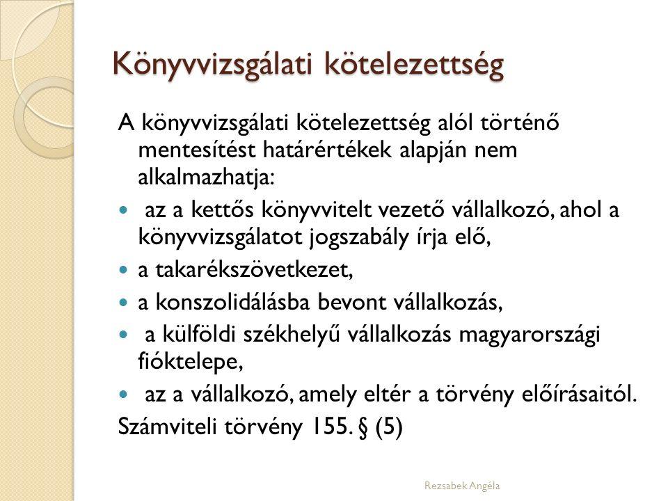 Könyvvizsgálati kötelezettség A könyvvizsgálati kötelezettség alól történő mentesítést határértékek alapján nem alkalmazhatja: az a kettős könyvvitelt vezető vállalkozó, ahol a könyvvizsgálatot jogszabály írja elő, a takarékszövetkezet, a konszolidálásba bevont vállalkozás, a külföldi székhelyű vállalkozás magyarországi fióktelepe, az a vállalkozó, amely eltér a törvény előírásaitól.