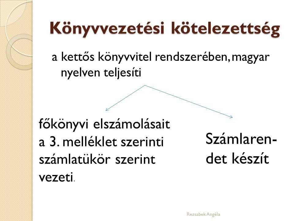 Könyvvezetési kötelezettség a kettős könyvvitel rendszerében, magyar nyelven teljesíti főkönyvi elszámolásait a 3. melléklet szerinti számlatükör szer