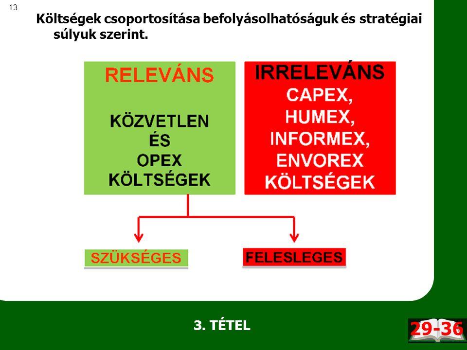 13 Költségek csoportosítása befolyásolhatóságuk és stratégiai súlyuk szerint. 3. TÉTEL 29-36