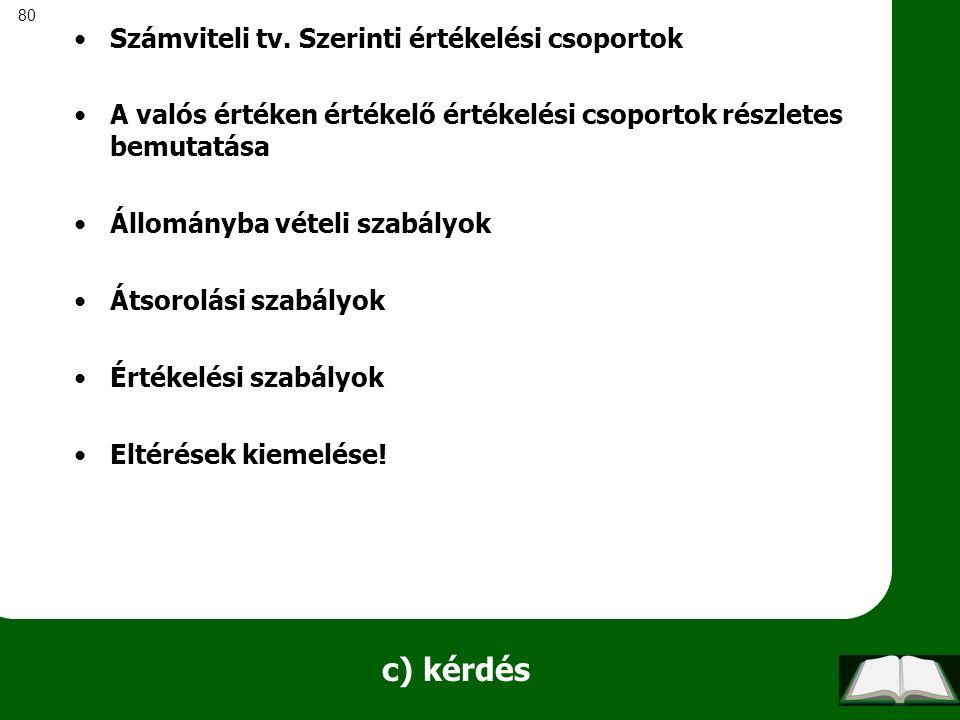 80 c) kérdés Számviteli tv. Szerinti értékelési csoportok A valós értéken értékelő értékelési csoportok részletes bemutatása Állományba vételi szabály