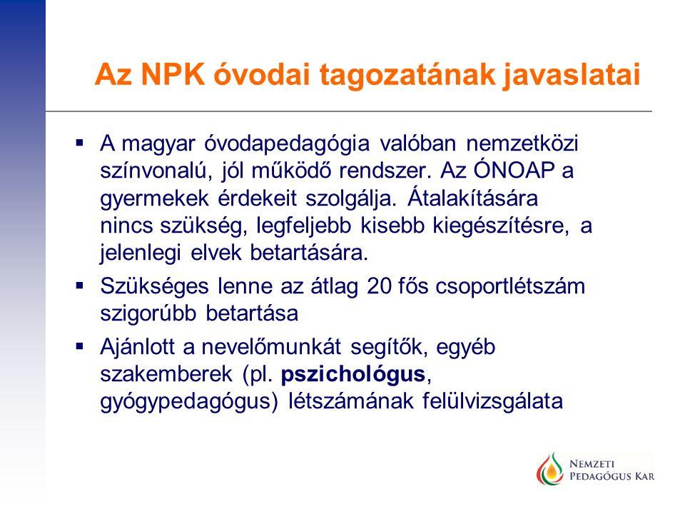  A magyar óvodapedagógia valóban nemzetközi színvonalú, jól működő rendszer. Az ÓNOAP a gyermekek érdekeit szolgálja. Átalakítására nincs szükség, le