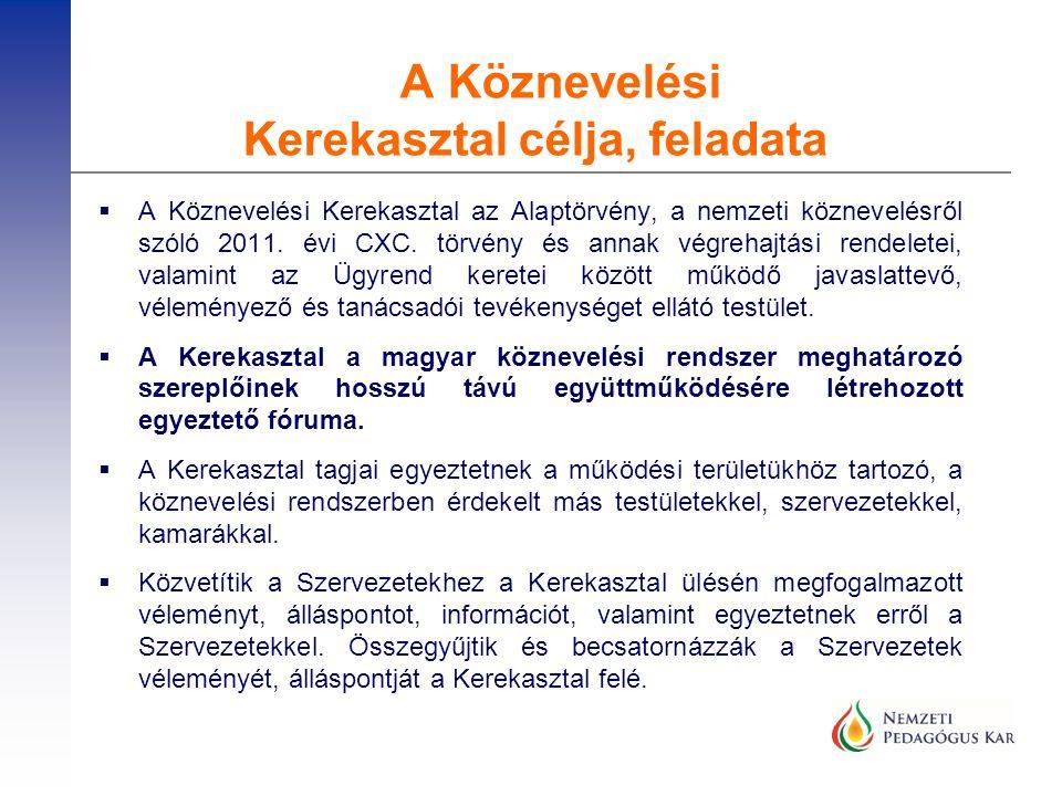 A Köznevelési Kerekasztal célja, feladata  A Köznevelési Kerekasztal az Alaptörvény, a nemzeti köznevelésről szóló 2011. évi CXC. törvény és annak vé