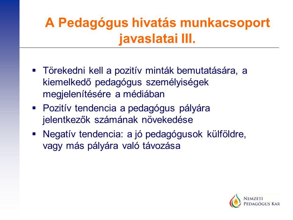  Törekedni kell a pozitív minták bemutatására, a kiemelkedő pedagógus személyiségek megjelenítésére a médiában  Pozitív tendencia a pedagógus pályár