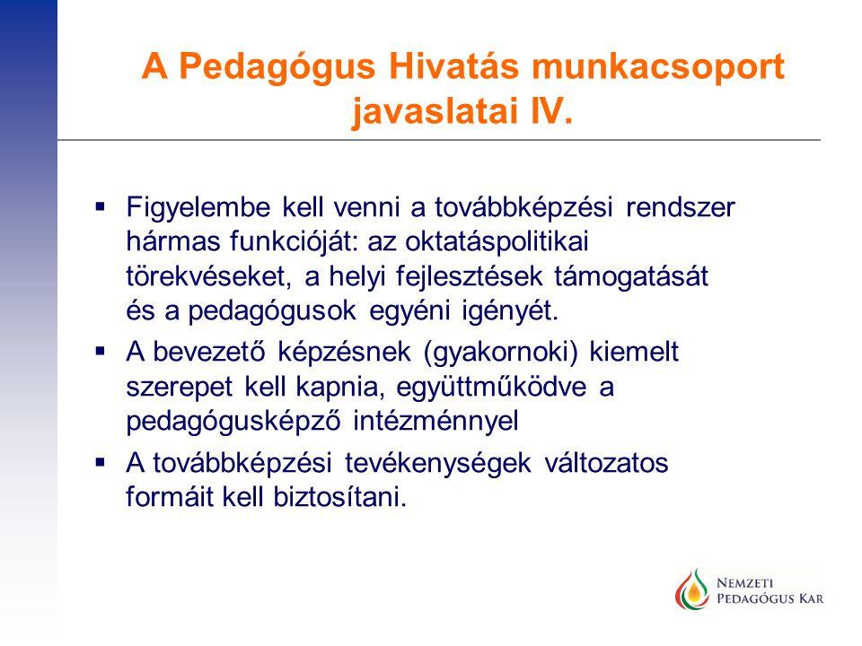  Figyelembe kell venni a továbbképzési rendszer hármas funkcióját: az oktatáspolitikai törekvéseket, a helyi fejlesztések támogatását és a pedagóguso