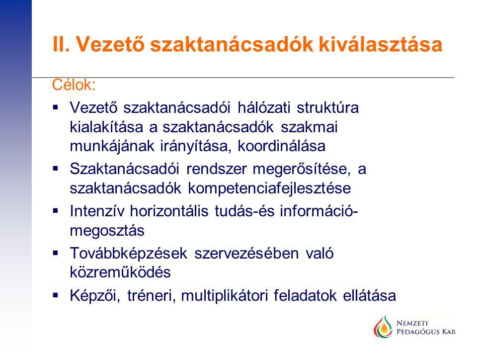 Célok:  Vezető szaktanácsadói hálózati struktúra kialakítása a szaktanácsadók szakmai munkájának irányítása, koordinálása  Szaktanácsadói rendszer m
