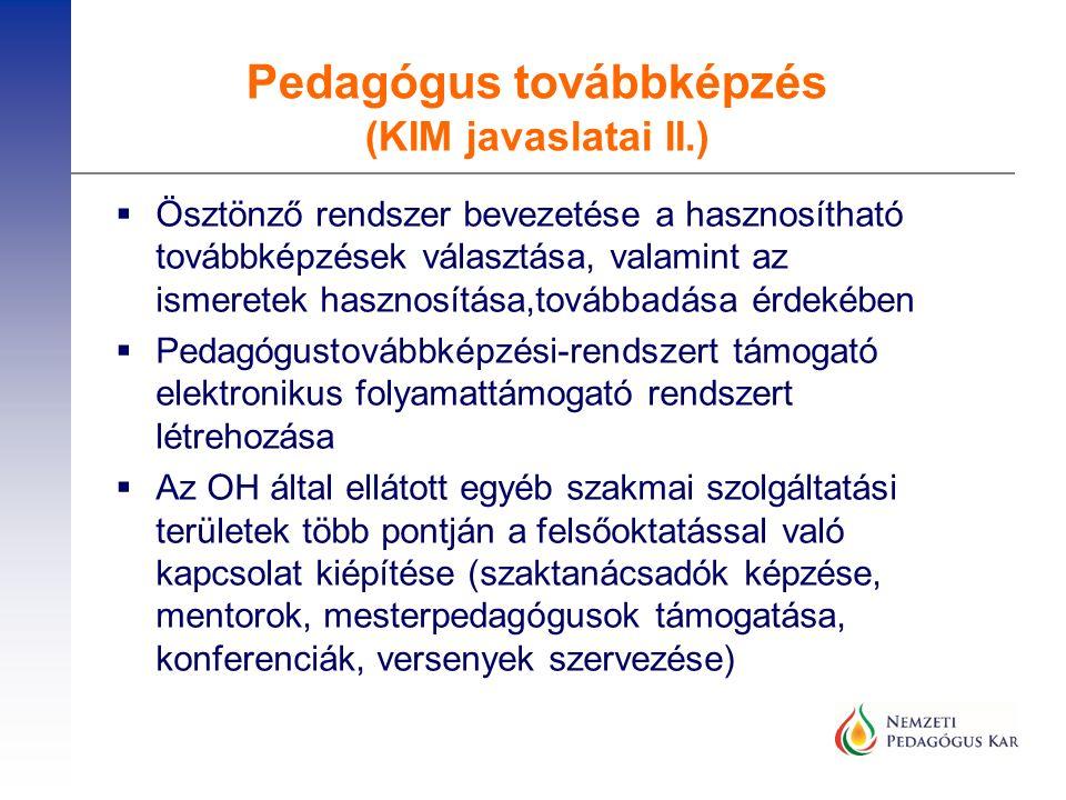  Ösztönző rendszer bevezetése a hasznosítható továbbképzések választása, valamint az ismeretek hasznosítása,továbbadása érdekében  Pedagógustovábbké