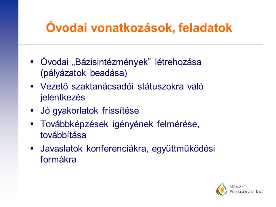 """ Óvodai """"Bázisintézmények létrehozása (pályázatok beadása)  Vezető szaktanácsadói státuszokra való jelentkezés  Jó gyakorlatok frissítése  Továbbképzések igényének felmérése, továbbítása  Javaslatok konferenciákra, együttműködési formákra Óvodai vonatkozások, feladatok"""