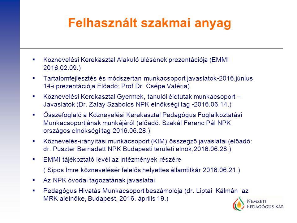  Köznevelési Kerekasztal Alakuló ülésének prezentációja (EMMI 2016.02.09.)  Tartalomfejlesztés és módszertan munkacsoport javaslatok-2016.június 14-i prezentációja Előadó: Prof Dr.