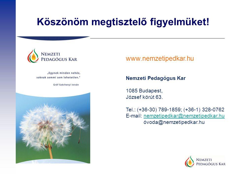 Köszönöm megtisztelő figyelmüket! www.nemzetipedkar.hu Nemzeti Pedagógus Kar 1085 Budapest, József körút 63. Tel.: (+36-30) 789-1859; (+36-1) 328-0762