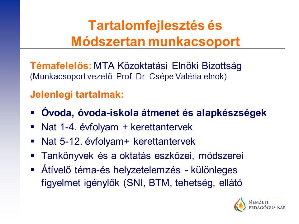 Témafelelős: MTA Közoktatási Elnöki Bizottság (Munkacsoport vezető: Prof. Dr. Csépe Valéria elnök) Jelenlegi tartalmak:  Óvoda, óvoda-iskola átmenet