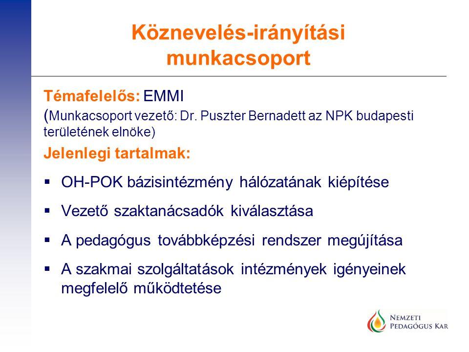 Témafelelős: EMMI ( Munkacsoport vezető: Dr. Puszter Bernadett az NPK budapesti területének elnöke) Jelenlegi tartalmak:  OH-POK bázisintézmény hálóz
