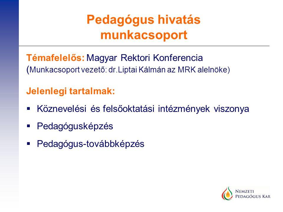 Témafelelős: Magyar Rektori Konferencia ( Munkacsoport vezető: dr.Liptai Kálmán az MRK alelnöke) Jelenlegi tartalmak:  Köznevelési és felsőoktatási i