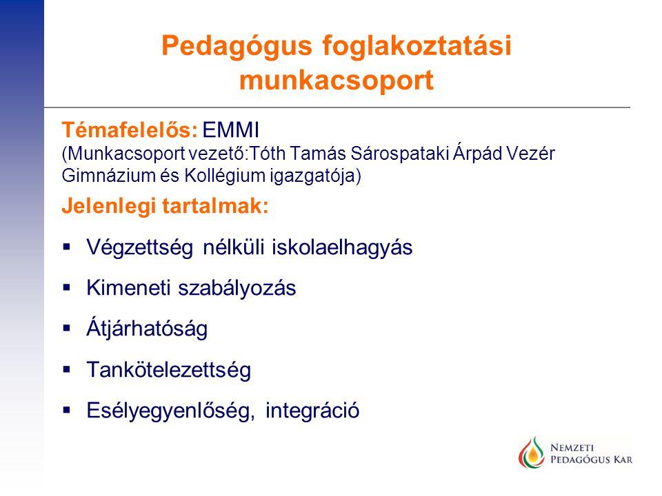 Témafelelős: EMMI (Munkacsoport vezető:Tóth Tamás Sárospataki Árpád Vezér Gimnázium és Kollégium igazgatója) Jelenlegi tartalmak:  Végzettség nélküli