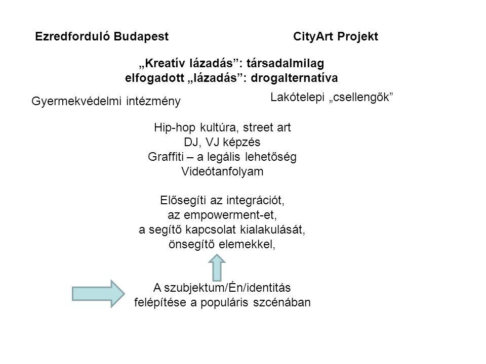 """Ezredforduló BudapestCityArt Projekt """"Kreatív lázadás"""": társadalmilag elfogadott """"lázadás"""": drogalternatíva Gyermekvédelmi intézmény Lakótelepi """"csell"""