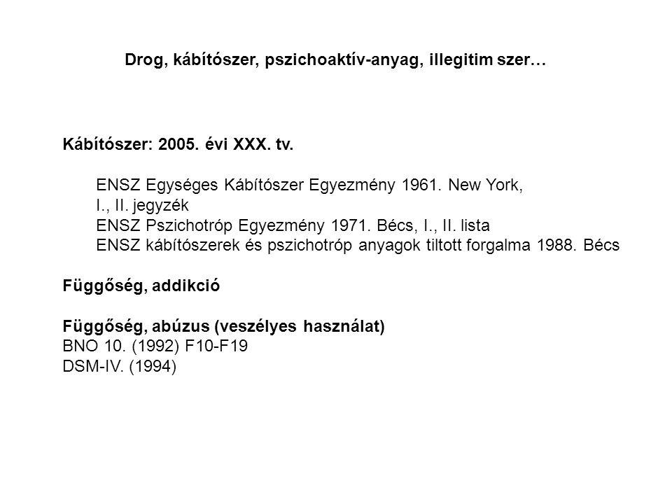 Kábítószer: 2005. évi XXX. tv. ENSZ Egységes Kábítószer Egyezmény 1961. New York, I., II. jegyzék ENSZ Pszichotróp Egyezmény 1971. Bécs, I., II. lista