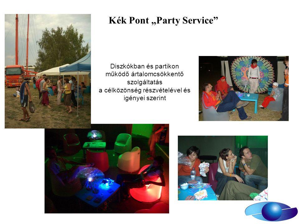 """Kék Pont """"Party Service Diszkókban és partikon működő ártalomcsökkentő szolgáltatás a célközönség részvételével és igényei szerint"""