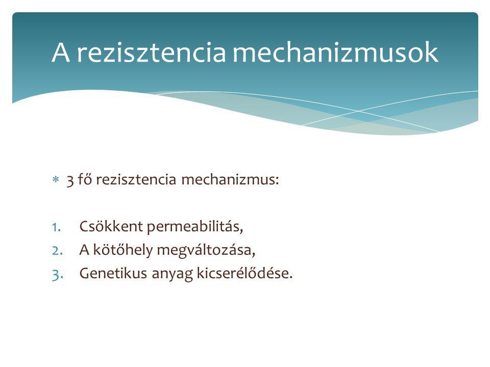  3 fő rezisztencia mechanizmus: 1.Csökkent permeabilitás, 2.A kötőhely megváltozása, 3.Genetikus anyag kicserélődése. A rezisztencia mechanizmusok
