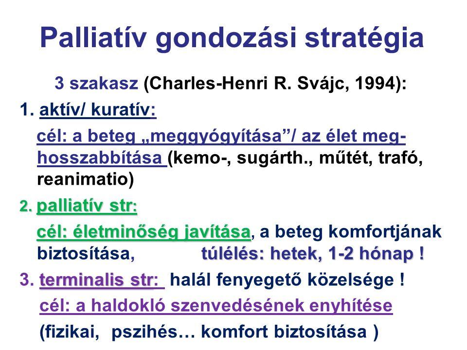 """Palliatív gondozási stratégia 3 szakasz (Charles-Henri R. Svájc, 1994): 1. aktív/ kuratív: cél: a beteg """"meggyógyítása""""/ az élet meg- hosszabbítása (k"""