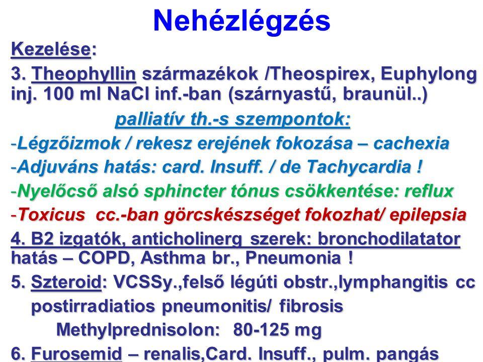 Nehézlégzés Kezelése: 3. Theophyllin származékok /Theospirex, Euphylong inj. 100 ml NaCl inf.-ban (szárnyastű, braunül..) palliatív th.-s szempontok: