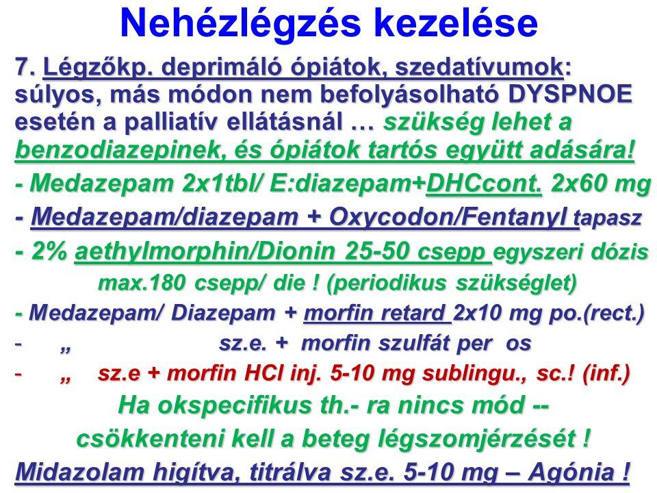 Nehézlégzés kezelése 7. Légzőkp. deprimáló ópiátok, szedatívumok: súlyos, más módon nem befolyásolható DYSPNOE esetén a palliatív ellátásnál … szükség