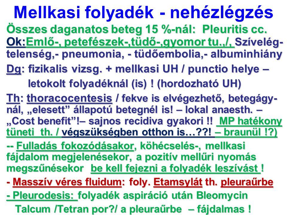 Mellkasi folyadék - n ehézlégzés Összes daganatos beteg 15 %-nál: Pleuritis cc. Ok:Emlő-, petefészek-,tüdő-,gyomor tu.,/, Szívelég- telenség,- pneumon