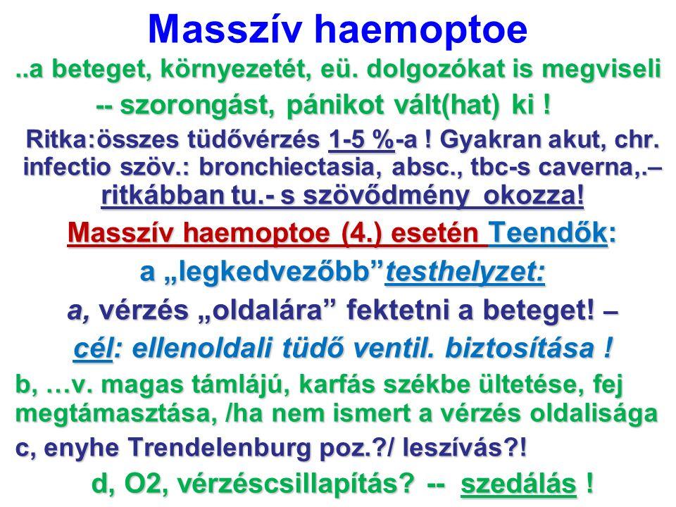 Masszív haemoptoe..a beteget, környezetét, eü. dolgozókat is megviseli -- szorongást, pánikot vált(hat) ki ! -- szorongást, pánikot vált(hat) ki ! Rit