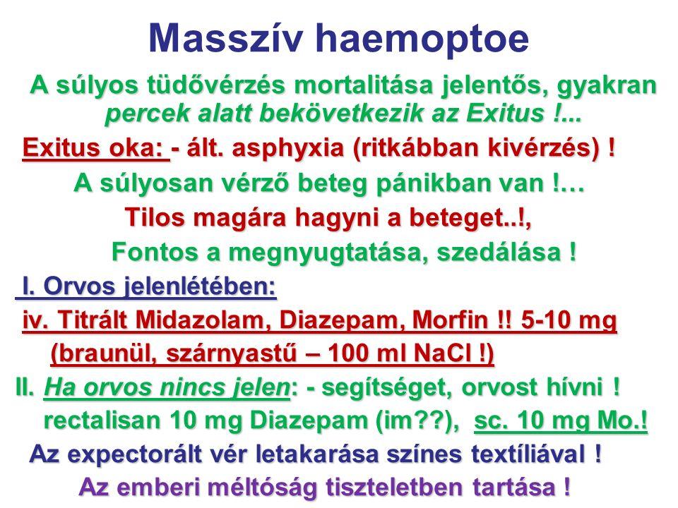 Masszív haemoptoe A súlyos tüdővérzés mortalitása jelentős, gyakran percek alatt bekövetkezik az Exitus !... Exitus oka: - ált. asphyxia (ritkábban ki