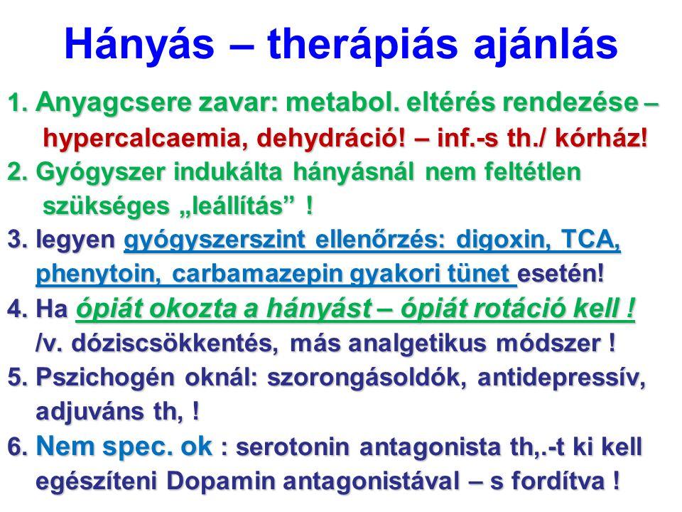Hányás – therápiás ajánlás 1. Anyagcsere zavar: metabol. eltérés rendezése – hypercalcaemia, dehydráció! – inf.-s th./ kórház! hypercalcaemia, dehydrá