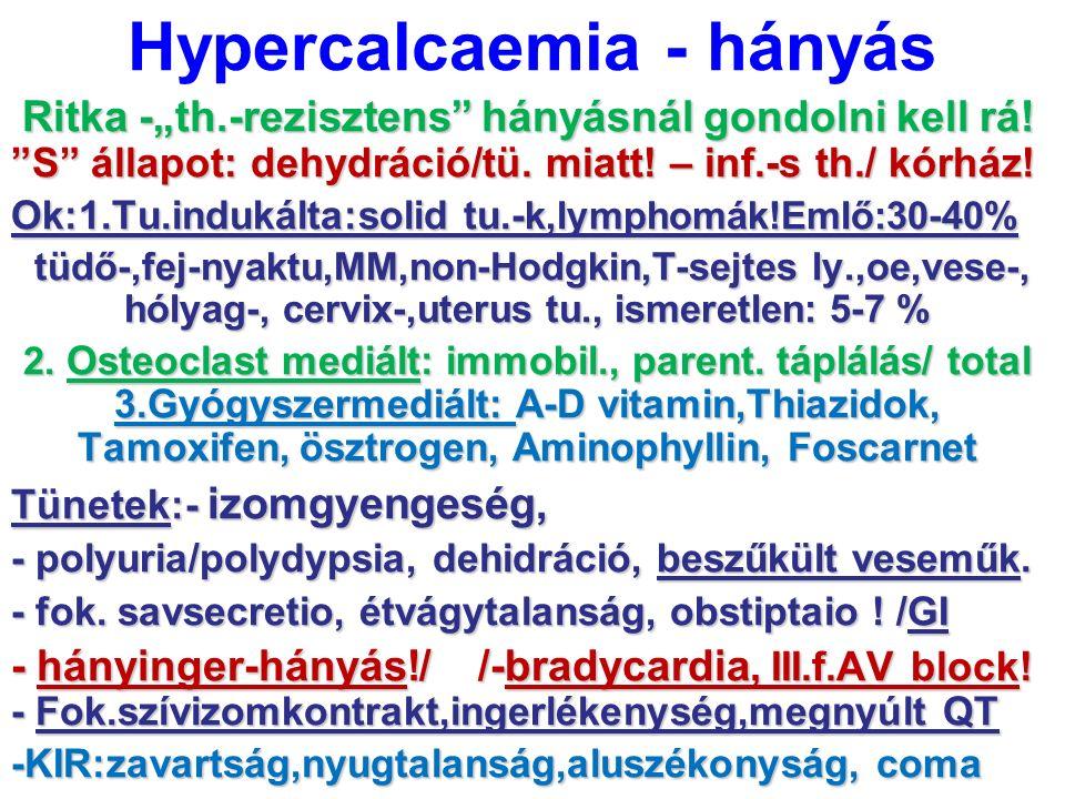 """Hypercalcaemia - hányás Ritka -""""th.-rezisztens"""" hányásnál gondolni kell rá! """"S"""" állapot: dehydráció/tü. miatt! – inf.-s th./ kórház! Ritka -""""th.-rezis"""