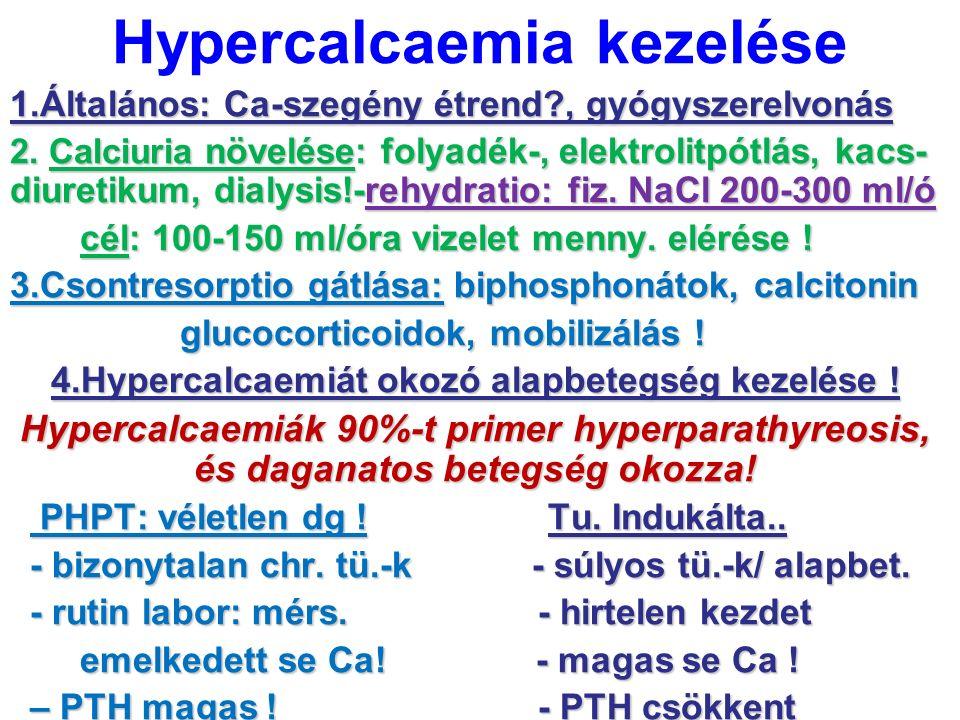 Hypercalcaemia kezelése 1.Általános: Ca-szegény étrend?, gyógyszerelvonás 2. Calciuria növelése: folyadék-, elektrolitpótlás, kacs- diuretikum, dialys