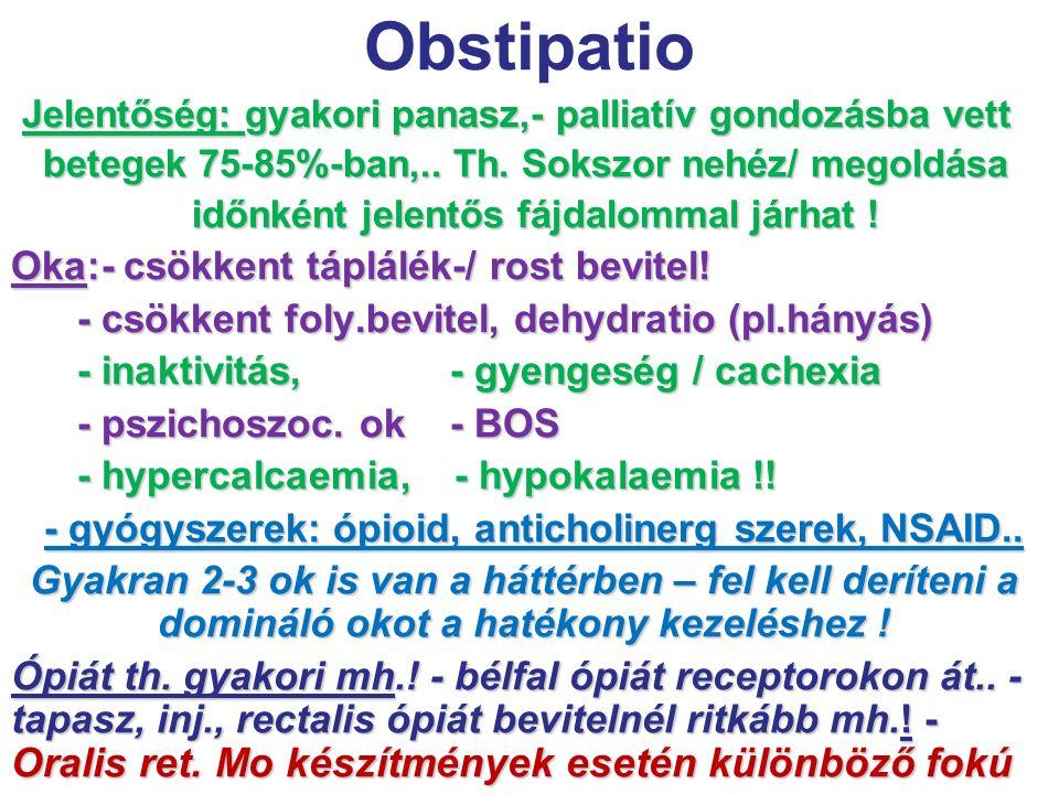 Obstipatio Jelentőség: gyakori panasz,- palliatív gondozásba vett Jelentőség: gyakori panasz,- palliatív gondozásba vett betegek 75-85%-ban,.. Th. Sok