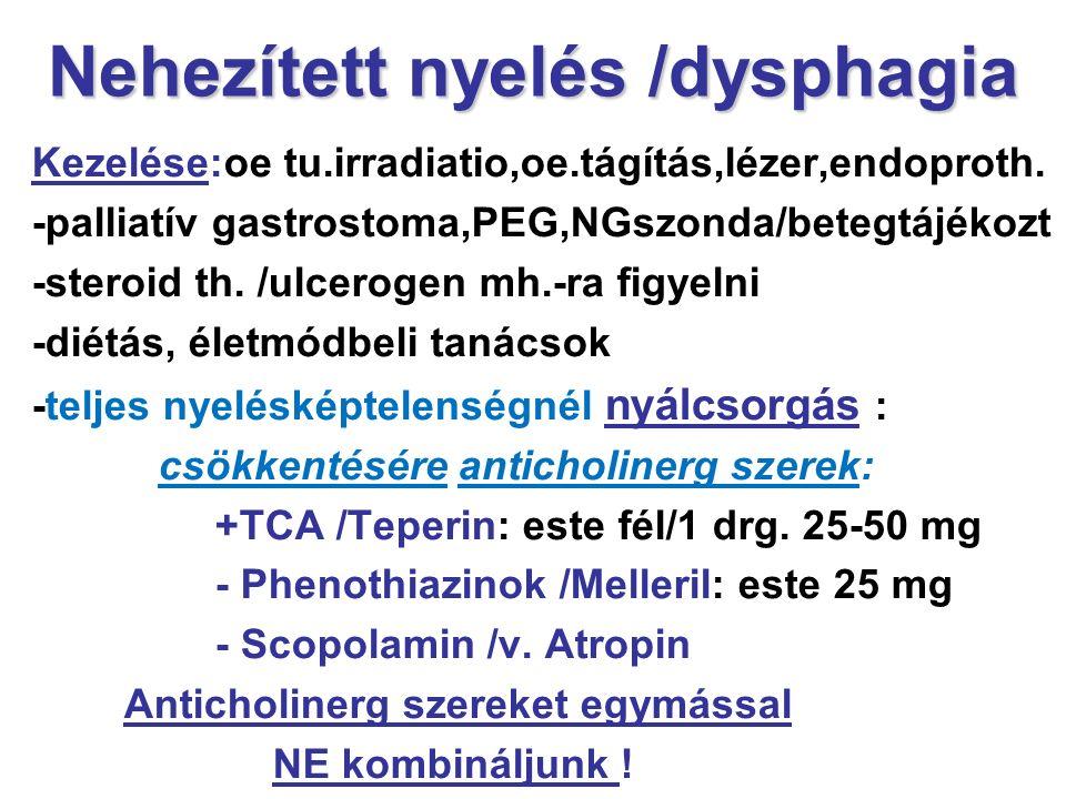 Nehezített nyelés /dysphagia Kezelése:oe tu.irradiatio,oe.tágítás,lézer,endoproth. -palliatív gastrostoma,PEG,NGszonda/betegtájékozt -steroid th. /ulc
