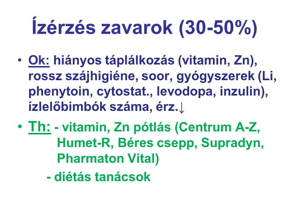 Ízérzés zavarok (30-50%) Ok: hiányos táplálkozás (vitamin, Zn), rossz szájhigiéne, soor, gyógyszerek (Li, phenytoin, cytostat., levodopa, inzulin), íz
