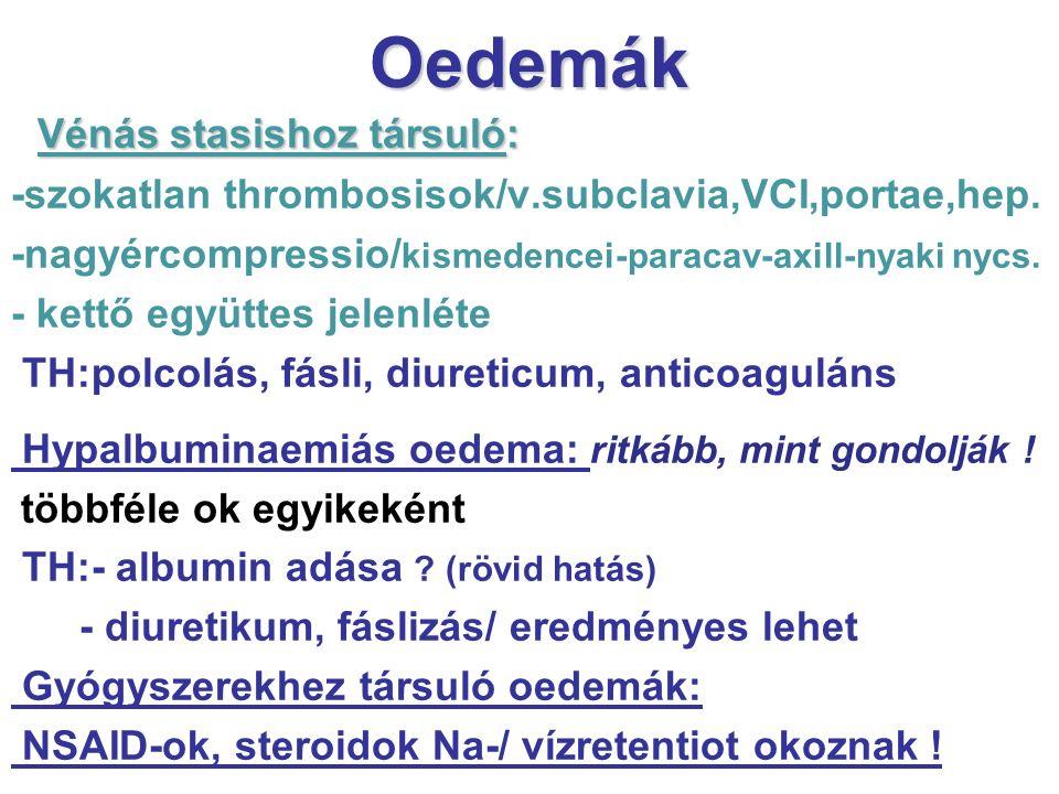 Oedemák Vénás stasishoz társuló: -szokatlan thrombosisok/v.subclavia,VCI,portae,hep. -nagyércompressio/ kismedencei-paracav-axill-nyaki nycs. - kettő
