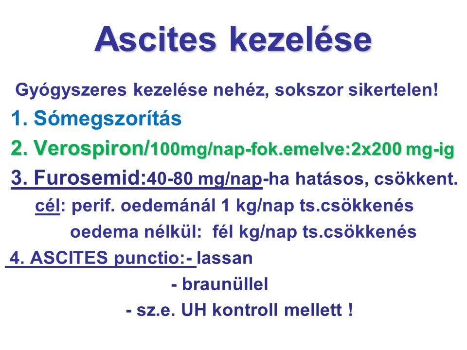 Ascites kezelése Gyógyszeres kezelése nehéz, sokszor sikertelen! 1. Sómegszorítás 2. Verospiron/ 100mg/nap-fok.emelve:2x200 mg-ig 3. Furosemid: 40-80