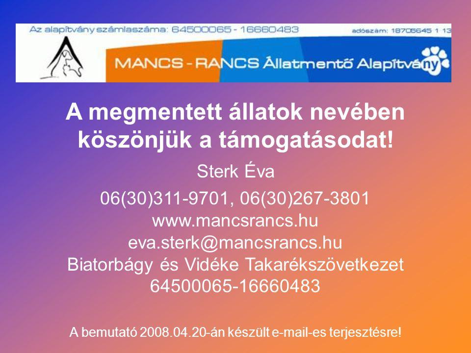 06(30)311-9701, 06(30)267-3801 www.mancsrancs.hu eva.sterk@mancsrancs.hu Biatorbágy és Vidéke Takarékszövetkezet 64500065-16660483 A megmentett állato