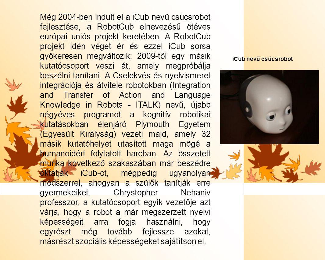 Még 2004-ben indult el a iCub nevű csúcsrobot fejlesztése, a RobotCub elnevezésű ötéves európai uniós projekt keretében. A RobotCub projekt idén véget