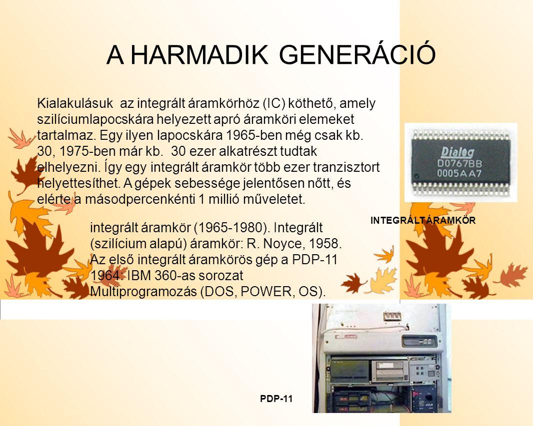 A HARMADIK GENERÁCIÓ Kialakulásuk az integrált áramkörhöz (IC) köthető, amely szilíciumlapocskára helyezett apró áramköri elemeket tartalmaz. Egy ilye