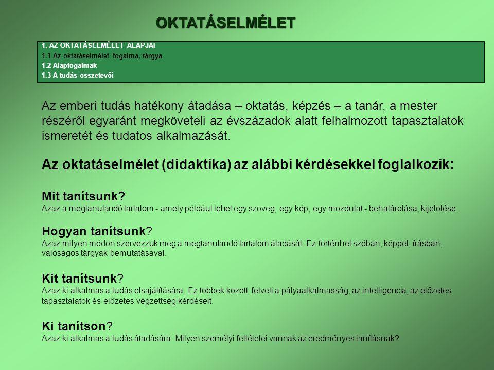 OKTATÁSELMÉLET 1.