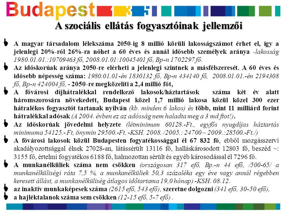 A szociális ellátás fogyasztóinak jellemzői  A magyar társadalom lélekszáma 2050-ig 8 millió körüli lakosságszámot érhet el, így a jelenlegi 20%-ról 26%-ra nőhet a 60 éves és annál idősebb személyek aránya -lakosság 1980.01.01.:10709463 fő, 2008.01.01:10045401 fő, Bp-n 1702297 fő.