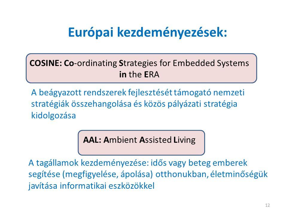 12 Európai kezdeményezések: A tagállamok kezdeményezése: idős vagy beteg emberek segítése (megfigyelése, ápolása) otthonukban, életminőségük javítása informatikai eszközökkel AAL: Ambient Assisted Living COSINE: Co-ordinating Strategies for Embedded Systems in the ERA A beágyazott rendszerek fejlesztését támogató nemzeti stratégiák összehangolása és közös pályázati stratégia kidolgozása