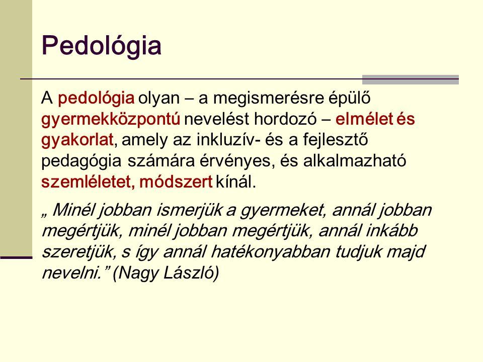 Pedológia A pedológia olyan – a megismerésre épülő gyermekközpontú nevelést hordozó – elmélet és gyakorlat, amely az inkluzív- és a fejlesztő pedagógia számára érvényes, és alkalmazható szemléletet, módszert kínál.