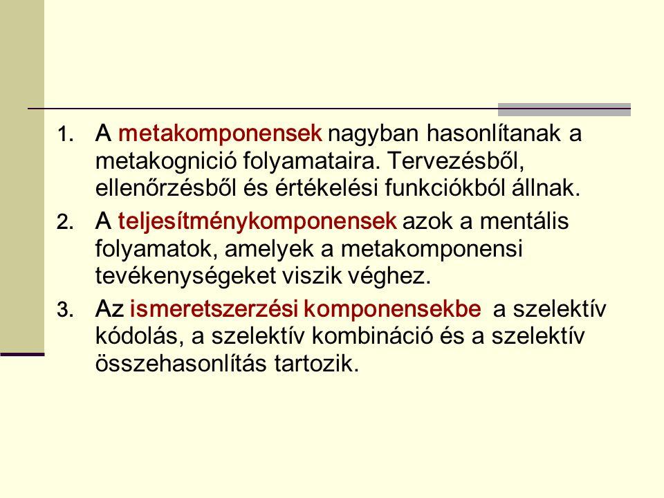 1.A metakomponensek nagyban hasonlítanak a metakognició folyamataira.